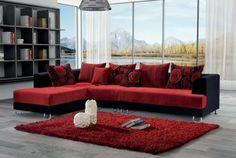 Black red corner sofa