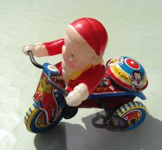Vintage Santa on a Tin Windup Tricycle by FavoriteMemories on Etsy