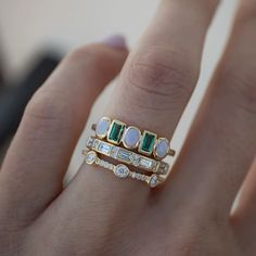 The loveliest trio, our new Rhythm Opal & Emerald Band and Harmony Baguette Band, atop our forever favorite Trinity Pave Band 💚 Unique Diamond Rings, Diamond Bands, Diamond Wedding Bands, Unique Rings, Diamond Engagement Rings, Jewelry Gifts, Jewelery, Just In Case, Just For You
