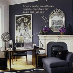 Deep purple painted home office; The Decorista