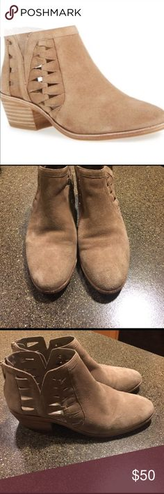 Vince Camuto Peera Cutout Booties Tan Suede Sz 9 Vince Camuto Peera Cutout Booties Tan Suede Sz 9. These have been well loved and do show normal signs of wear. Still a lot of life left in them. Vince Camuto Shoes Ankle Boots & Booties