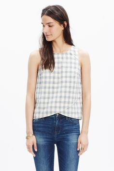 plaid cross-front tank
