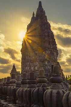 Prambanan temple at sunset time in Central Java, Indonesia