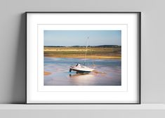 Limited edition signed photographic print by Anna Partington - 'Low tide' - 12 x 16 inch - A boat in at low tide in Norfolk Norfolk Coast, Pink Rose Flower, Bank Holiday Weekend, Scenery, Anna, Boat, Artist, Prints, Painting