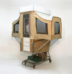 """weissesrauschen: """" Kevin Cyr """" Camper Kart is a small pop-up camper affixed to a shopping cart. It is a functioning sculptural piece that seeks to explore aspects of housing, habitat, mobility, and. Small Pop Up Campers, Tiny House, Cool Tents, Amazing Tents, Roof Top Tent, Happy Campers, Glamping, Deco, Small Spaces"""