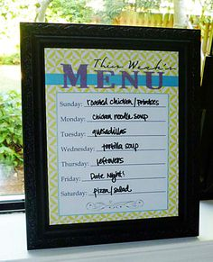 Put a free printable Menu Plan into a frame to use as a Dry Erase Board.  Click for 20 free printable menu plans.