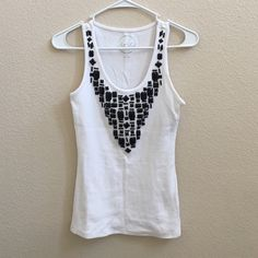 INC brand new with tags and extra beads tank top White tank top. No beads missing. Extra beads. No stains. Perfect condition. Never worn INC International Concepts Tops Tank Tops