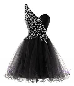 Luxury Black Beaded One Shoulder Mini Prom Dresses Short Evening Dresses 2016 Graduation Cocktail Dresses Real Photo Women Party Dresses Formal Gowns Pretty Homecoming Dresses, Plus Size Prom Dresses, Pretty Dresses, Beautiful Dresses, Dance Dresses, Sexy Dresses, Evening Dresses, Short Dresses, Prom Gowns
