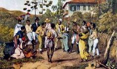 Escravos se reunindo para fazer samba