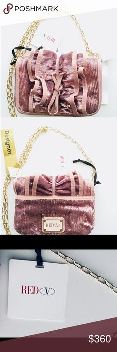 Metallic sequined Valentino ruched crossbody bag NWT Metallic pink nude sequined Red Valentino ruched crossbody bag with gold-tone hardware, matching leather trim, front ruched detail,  leather bow at exterior, logo at back, single chain-link shoulder strap, woven lining, single zip pocket at interior wall, magnetic snap closure at front flap - carry  as a clutch too.  Gold and black colors available too - check the other listings-great for holiday, any event, night out & as a gift…