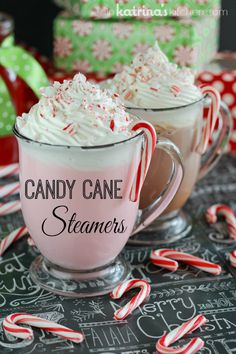 Candy Cane Steamer ~ peppermint simple syrup, milk (chocolate or white), whipped cream, crushed candy cane pieces for garnish