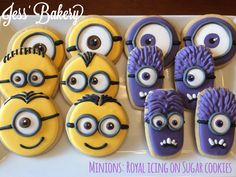 More minions! Sugar cookie with royal icing