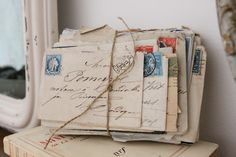 vintage stamps... curly script... old letters... postmarks... twine...  photographer, Tracey at French Larkspur