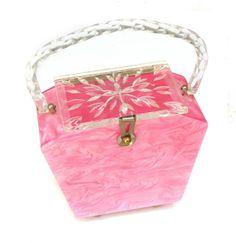 1950s Sugar Pink Marbled Lucite purse - Carole Tanenbaum Vintage Collection - http://www.caroletanenbaum.com/about-the-collection