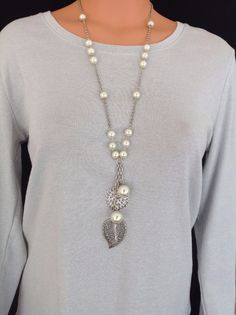 "Bay Studio Silver Tone Chain & Pearls 28"" Fashion Drop Necklace w/ Leaf Pendant"