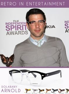 Zachary Quinto loves #Retro #Eyewear. Quinto from the TV Show Heroes and movies like Star Trek among others loves his vintage inspired Dolabany Arnold frame in Black Crystal at a recent award ceremony. Check out all the colors of Dolabany's Arnold here.