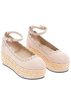 Floral Hollow Apricot Shoes