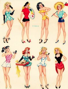 """ Meyercord Pin-up decals c. 1950s """
