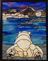 Polar bear stained glass panel.