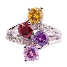 Colorful Garnet & Amethyst & Citrine Silver Ring Size 7.5