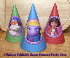 6 DIY Home Party Hats - Download, Print, Roll and Glue - Dreamworks Home Movie Party Hats Home Hats Printable Dreamworks Home…