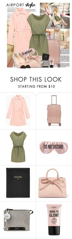 """Airport style"" by polybaby ❤ liked on Polyvore featuring Max&Co., CalPak, BaubleBar, FOSSIL, Mansur Gavriel, Victoria Beckham, Kenneth Cole Reaction, NYX and airportstyle"