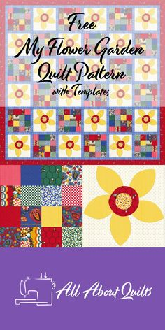 A free quilt pattern using a 4 x 4 block alternating with an applique flower block to make a stunning quilt. Block Patterns, Quilt Patterns Free, Pattern Blocks, Free Pattern, Quilt Design, Quilting Designs, 52 Weeks, My Flower, Quilt Making