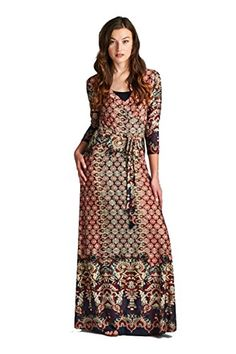 On Trend Women's Paris Bohemian 3/4 Sleeve Long Maxi Dress (Small, Wine) On Trend http://www.amazon.com/dp/B00Y74E3JE/ref=cm_sw_r_pi_dp_bzkJvb1323MHT