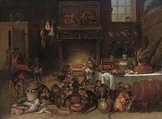 Ferdinand van Kessel, Apes celebrating in the kitchen. [17th century]