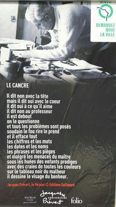 Poème Le cancre de Jacques Prévert - Affiche Ratp