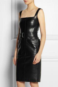 Alexander mcqueen Glove Leather Dress in Black Black Gloves, Leather Gloves, Lambskin Leather, Black Leather, Alexander Mcqueen Dresses, Womens Cocktail Dresses, Leather Dresses, Coat Dress, Leather Fashion