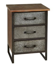 Wood and metal combine in this sturdy three-drawer cabinet that offers organizing ease and personality to your den, workshop or bedroom setting.