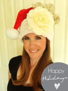 Make a pretty Santa hat for holidays...link to full tutorial below pic, so cute!