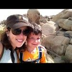 Yvonne Condes and son in Joshua Tree National Park - We love the outdoors and want to protect California open spaces. #whyIvote