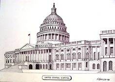 Pen and ink drawing of the United States Capitol building in Washington, DC.  More info at http://frederic-kohli.artistwebsites.com.