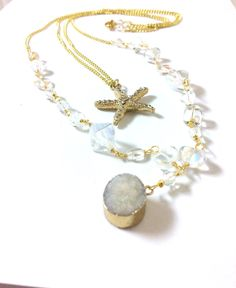 White Druzy Layered Necklace Multi Strand Necklace Starfish Pendant Necklace Czech Glass Beaded Necklace Long Gold Chain Necklace (N33)