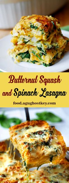 This delicious vegetable lasagna recipe is healthy, meatless, gluten-friendly, and perfect for fall and winter. Because it uses butternut squash, this is the right choice as a main course for a vegetarian holiday or just a holiday recipe. #butternut #butternutsquash #squash #spinach #lasagna #spinachlasagna #recipe