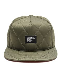 Stussy - Quilted Foam Snapback Cap (Olive) Estilo Cool, Dope Hats, Fall Hats, Beanie Hats, Beanies, Stussy, Snapback Cap, Men's Fashion, Hats For Men