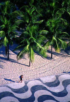 Copacabana beach, Rio de Janeiro, Brazil., Palms trees in the beach., and the famous design of the sidewalks.