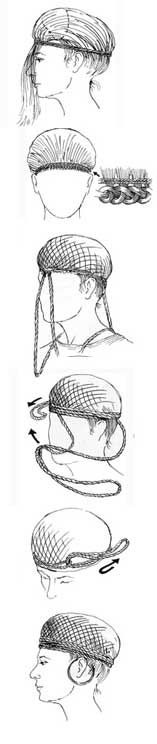 Drawing illustrating how the hairstyle of the woman from Skrydstrup was achieved.  -- National Museum of Denmark.