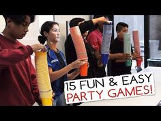 15 Fun & Easy Party Games For Kids And Adults (Minute to Win It Party) - Aatapaatalu Office Party Games, Easy Party Games, Summer Party Games, Adult Party Games, Adult Games, Diy Games, Group Games For Kids, Games For Teens, Family Games