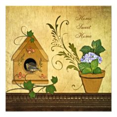 Bluebird House New Home Party Invitation