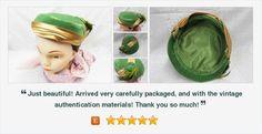 #Vintage #CocktailHat Green and Gold Ladies Velvet Satin Feather Hat #gotvintage #vintagehat