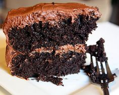 Chocolate Chocolate Cake.  Looking at this I'm reminded of Bill Knapp's chocolate cake.