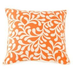 """Cotton pillow with an embroidered motif.  Product: PillowConstruction Material: CottonColor: Orange and ivoryFeatures:  Zipper closureWelt edgeInsert included Dimensions: 18"""" x 18""""Cleaning and Care: Dry clean"""