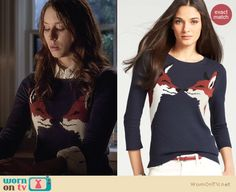 Spencer's fox sweater on Pretty Little Liars. Outfit Details: http://wornontv.net/27291 #PLL #fashion