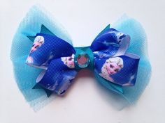 c94461bdde90c1 Elsa Frozen Ribbon and Tulle Hair Bow by DecoBabyShoes on Etsy Tulle Hair  Bows