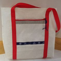Sailcloth tote bag made of recycled sail, zip pocket, unlined, nautical, great gift for sailor by Sailknot on Etsy