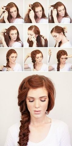 Side fishtail, tutorial: http://www.thewonderforest.com/2014/04/bohemian-side-braid-festival-hair.html