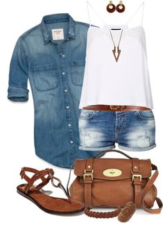 Very Cute Summer Outfit. This Would Look Good Paired With Any Shoes. - Street Fashion, Casual Style, Latest Fashion Trends - Fashion New Trends Summer Wear, Spring Summer Fashion, Spring Outfits, Outfit Summer, Weekend Fashion, School Fashion, Style Summer, Mode Outfits, Casual Outfits